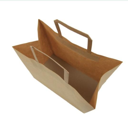 啡色扁紙繩手挽紙袋 (有袋底咭)